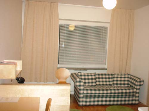 The studio is 23 sq.m. and very fresh. There is a shower/WC and small kitchen in the apartment with a refrigerator, two ring stove, electrical and microwave ovens, and a coffee-maker. There is a sofa