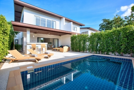 This stunning two-storey, modern contemporary villa with three bedrooms, three bathrooms, (sleeps six maximum), private splash pool and outdoor living area, is Ideal for large families and friends to