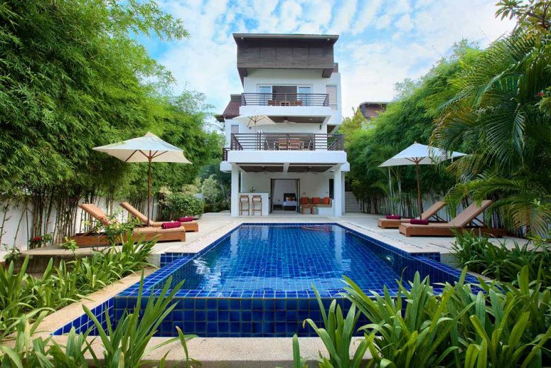 This stunning three-storey, modern contemporary villa with three bedrooms, three and a half bathrooms, (sleeps six maximum), private swimming pool and outdoor living area, is Ideal for large families