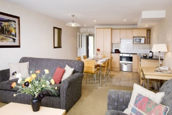 The property consists of sixteen Five Star rated one, two and three bedroom apartments, suitable for short and long term stays. Upon arrival you will be greeted at reception, and introduced to your ap